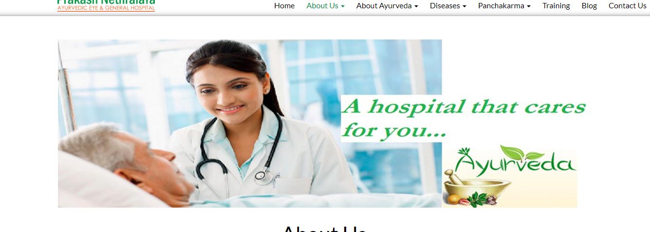 Prakash nethralaya about us-hospital website development