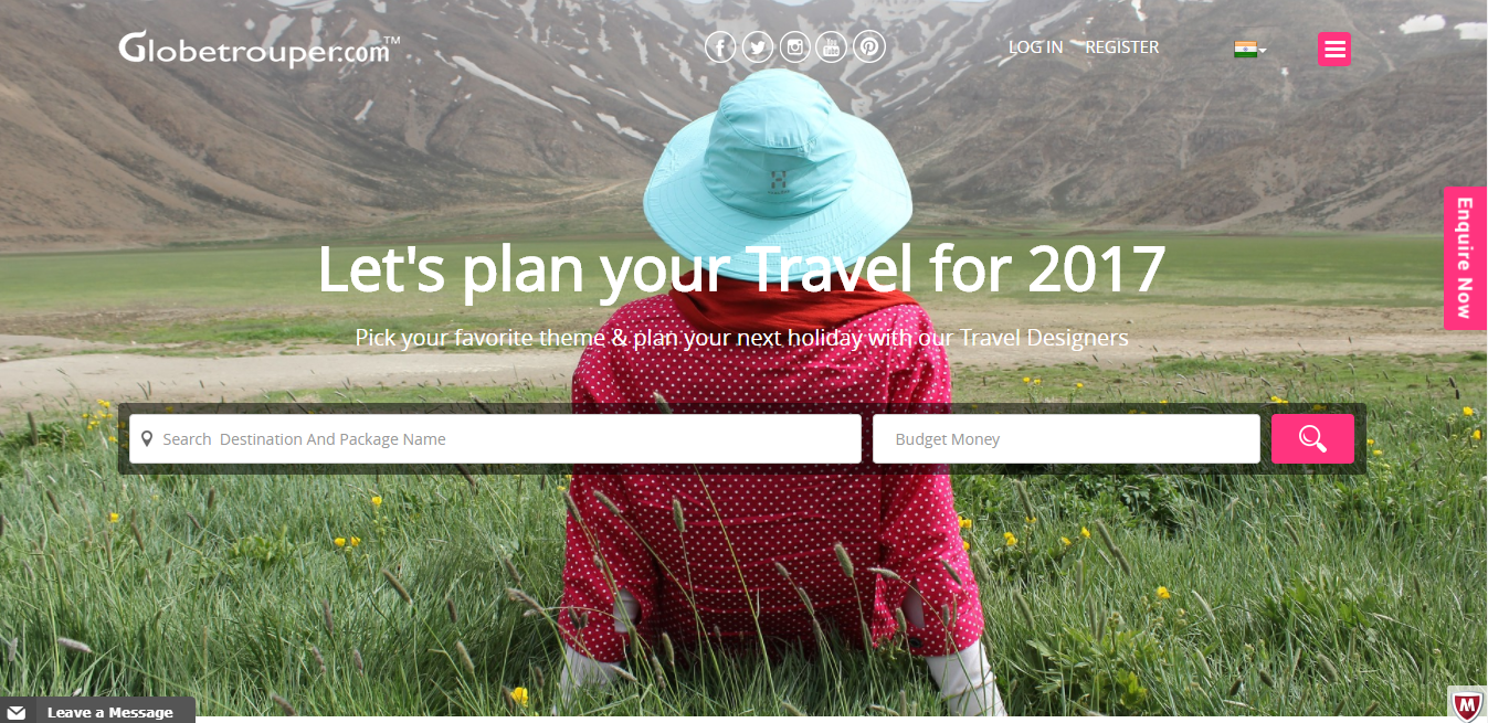 Globetrouper-Travel website development-Thoughtfulminds